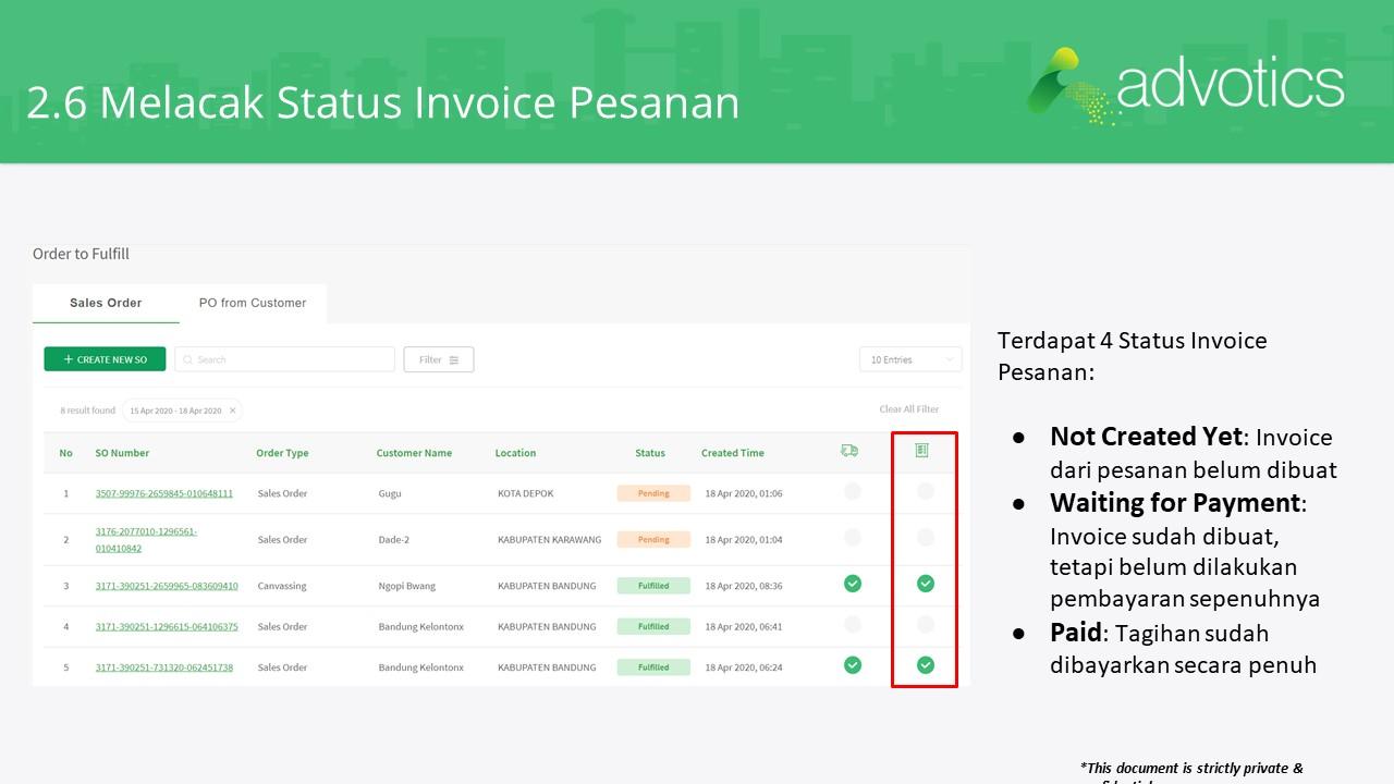 RN melacak status invoice pesanan