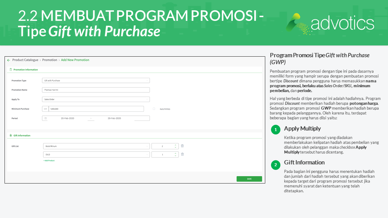 RN membuat program promosi tipe purchase