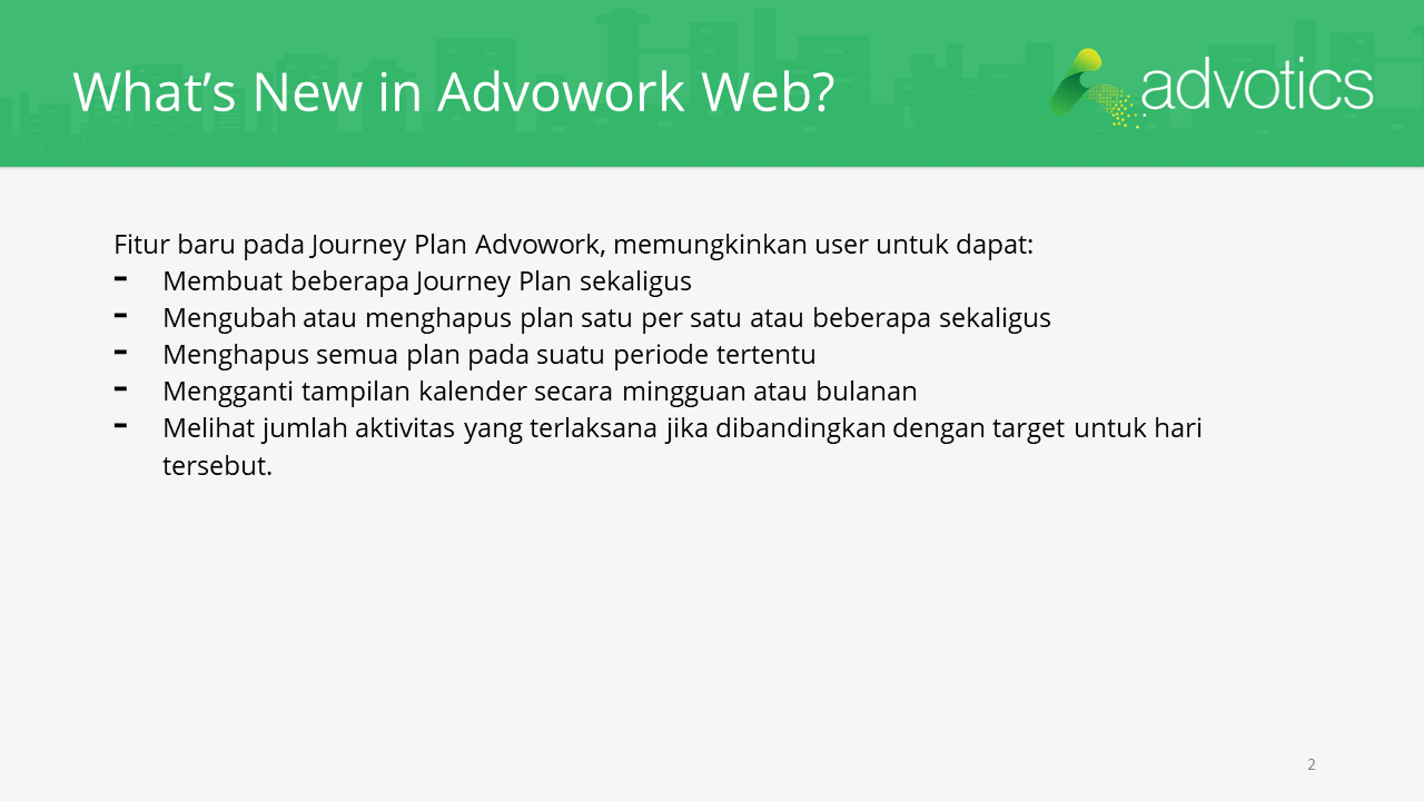 RN whats new in advowork web